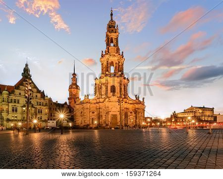 View of Dresden on sunset. Germany Saxony Europe.