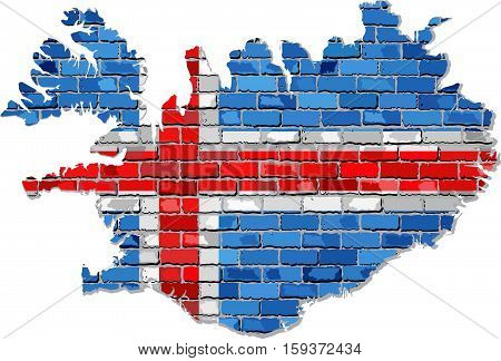 Iceland map on a brick wall - Illustration,  Map of the Iceland with flag inside