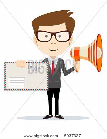 Abstract delivery service man with envelope and Megaphone . Vector illustration
