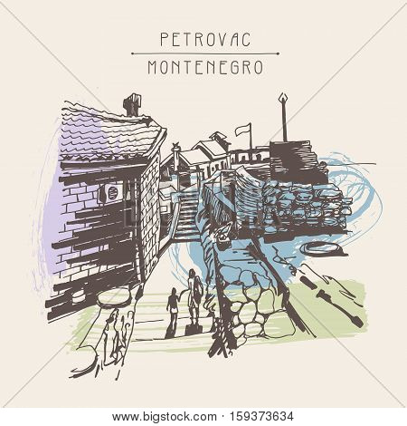 original sepia ink sketch drawing of ancient fort in Petrovac Montenegro, Balkans, Adriatic sea, Europe, vintage touristic postcard, vector version illustration