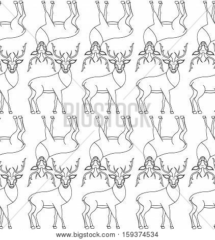 Seamless vector pattern with repetitive wild deer in stroke