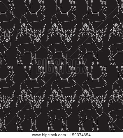 Seamless pattern with deer repetitive white stroke on black background