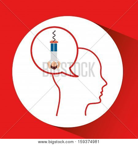head silhouette male bungee jumper extreme sport vector illustration eps 10