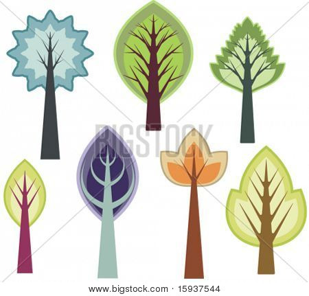 Vector tree designs in a single style. Check my portfolio for more of this series as well as thousands of other great vector items.