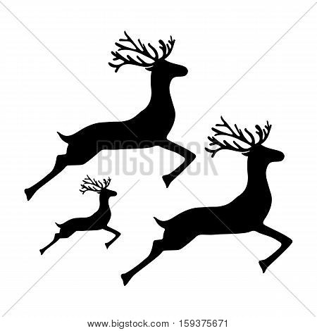 Family of reindeer jumping and running on a white background vector