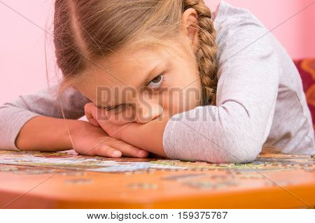 The Girl Was Very Tired Assemble A Picture From Puzzles
