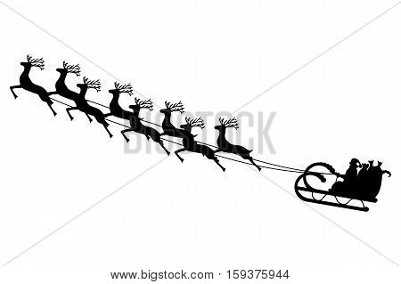 Santa Claus rides in a sleigh in harness on the reindeer vector