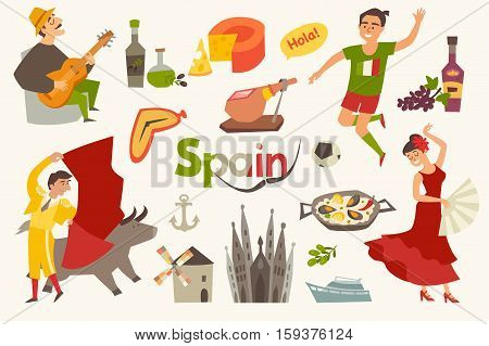 Spain traditional symbols set.Travel tourist element.Hola sign.Traditional spainish corrida; flamenco; guitar.Spanish food: jamon; olive oil; paella; sangria cartoon style.Isolated vector illustration