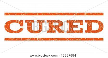 Cured watermark stamp. Text caption between horizontal parallel lines with grunge design style. Rubber seal orange stamp with scratched texture. Vector ink imprint on a white background.