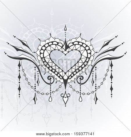 Sketch of tattoo henna hearts. Mehndi elements for tattoo design card backgrounds print on clothes or else. Vector hearts for Valentines day
