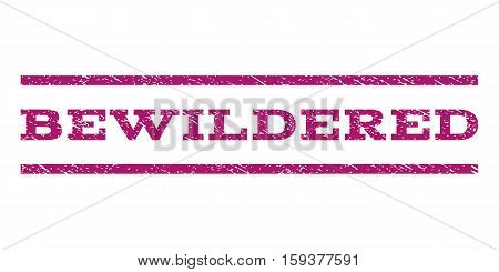 Bewildered watermark stamp. Text caption between horizontal parallel lines with grunge design style. Rubber seal purple stamp with dirty texture. Vector ink imprint on a white background.