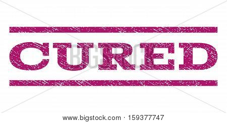 Cured watermark stamp. Text caption between horizontal parallel lines with grunge design style. Rubber seal purple stamp with dust texture. Vector ink imprint on a white background.