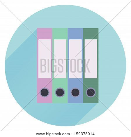 Pile of colorful binders isolated on a white background. Concept of office supply, information classification. Vector illustration.