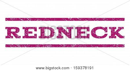 Redneck watermark stamp. Text tag between horizontal parallel lines with grunge design style. Rubber seal purple stamp with scratched texture. Vector ink imprint on a white background.