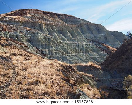 A pair of bridges on a trail that leads to the colorful and unique geology of John Day Fossil Beds in Eastern Oregon contrasted with glowing wild grasses on a sunny fall morning.