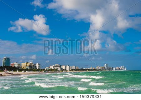 The view on South Beach in Miami Beach Florida USA from South Pointe Pier in South Pointe Park.