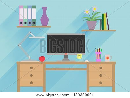 Designer working place or studying illustration. Banner illustration. Flat design illustration concepts for working place at office working place at home workspace workplace studying place