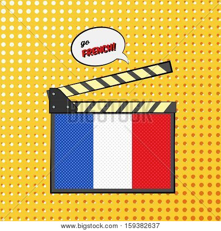Concept of learning languages, study French Language. Movie clapper board with pop-art style French flag.