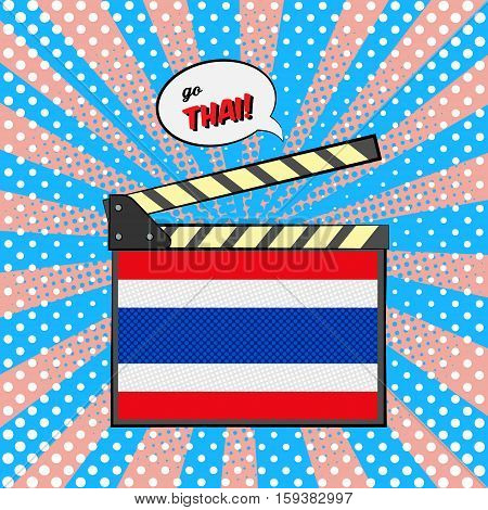 Concept of learning languages, study Thai Language. Movie clapper board with pop-art style flag of Thailand.