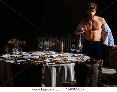 Hansome Man In Unbutton Shirt