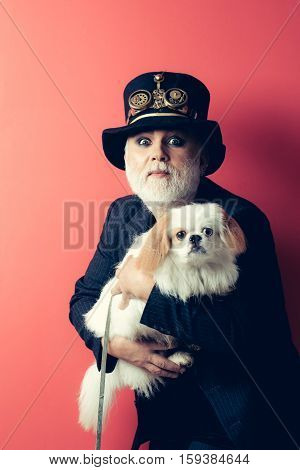 Senior bearded man or watchmaker with white beard in black hat with watch mechanical metallic gears and cogwheels with cute dog pet on red wall