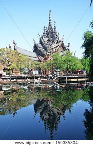 Sanctuary Of Truth, Pattaya Is A Temple Construction In Pattaya, Thailand