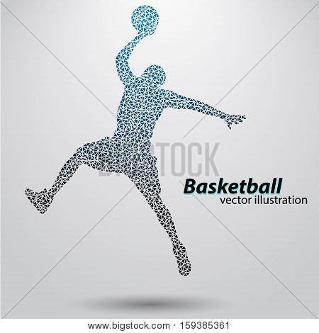 Basketball player of the triangles. Background and text on a separate layer, color can be changed in one click