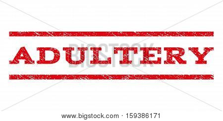 Adultery watermark stamp. Text caption between horizontal parallel lines with grunge design style. Rubber seal red stamp with scratched texture. Vector ink imprint on a white background.