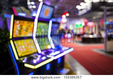 Blurry Slots Machines At A Casino