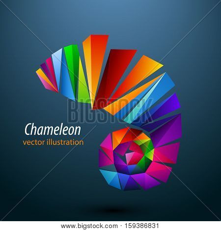 Chameleon from color triangles. Background on a separate layer, color can be changed in one click.