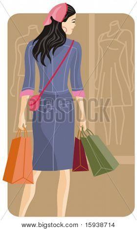 Vector illustration serie de compras. Chica de compras. Comprobar mi cartera para mucho más de esta serie