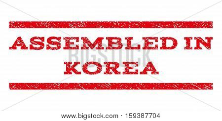 Assembled In Korea watermark stamp. Text tag between horizontal parallel lines with grunge design style. Rubber seal red stamp with unclean texture. Vector ink imprint on a white background.