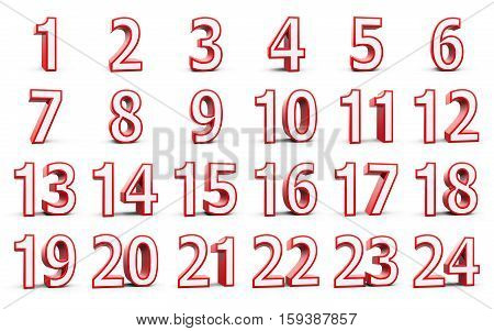 Red numbers set from 1 to 24 - represents christmas calendar - isolated on white background three-dimensional rendering 3D illustration