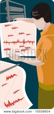 Earthquake specialist vector illustration. Check my portfolio for more of my geology and ecology series as well as thousands of other great vector items.