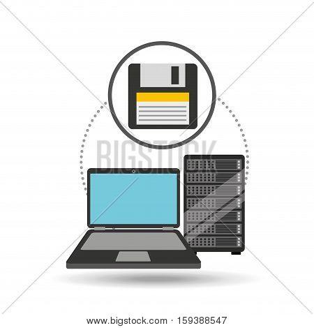 backup floppy laptop data server vector illustration eps 10