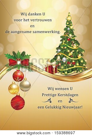 Business Dutch greeting card for winter holidays. Dutch language: Thank you for the trust and successful cooperation during the past year. We wish you Merry Christmas and Happy New Year!