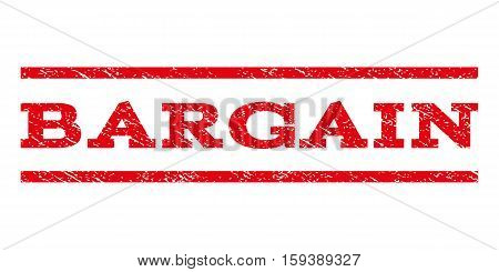 Bargain watermark stamp. Text tag between horizontal parallel lines with grunge design style. Rubber seal red stamp with dust texture. Vector ink imprint on a white background.