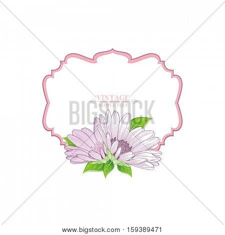 Floral frame with flower chamomile. Element for design. Vector illustration.