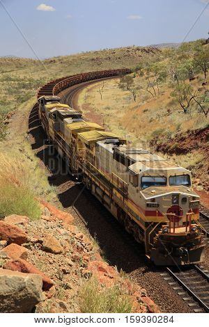 Empty Iron Ore train returning from Dampier to Tom Price in the Pilbara region of Western Australia.