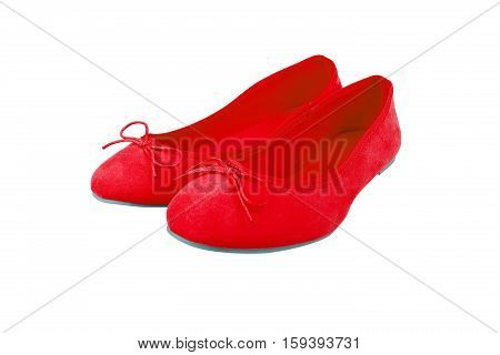 Red Suede Shoes, Isolated On White