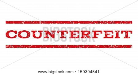 Counterfeit watermark stamp. Text caption between horizontal parallel lines with grunge design style. Rubber seal red stamp with unclean texture. Vector ink imprint on a white background.