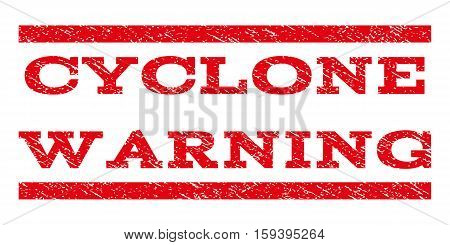 Cyclone Warning watermark stamp. Text caption between horizontal parallel lines with grunge design style. Rubber seal red stamp with scratched texture. Vector ink imprint on a white background.