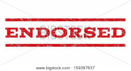 Endorsed watermark stamp. Text caption between horizontal parallel lines with grunge design style. Rubber seal red stamp with dirty texture. Vector ink imprint on a white background.