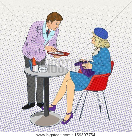 pop-art composition with waiter leaned over the visitor, stylized vector illustration