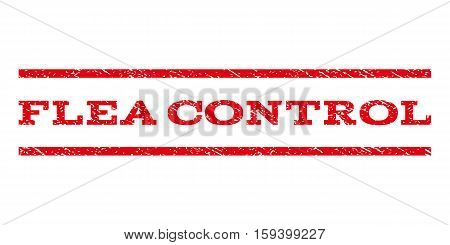 Flea Control watermark stamp. Text caption between horizontal parallel lines with grunge design style. Rubber seal red stamp with dust texture. Vector ink imprint on a white background.