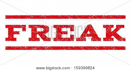 Freak watermark stamp. Text tag between horizontal parallel lines with grunge design style. Rubber seal red stamp with dust texture. Vector ink imprint on a white background.