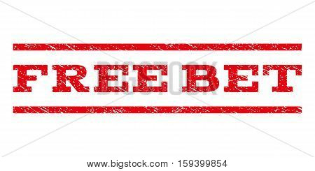 Free Bet watermark stamp. Text tag between horizontal parallel lines with grunge design style. Rubber seal red stamp with unclean texture. Vector ink imprint on a white background.