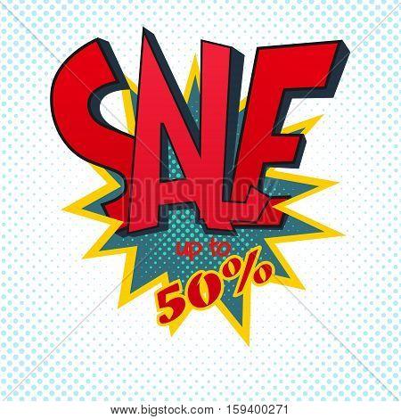 big sale bold red letters, stylized pop-art illustration