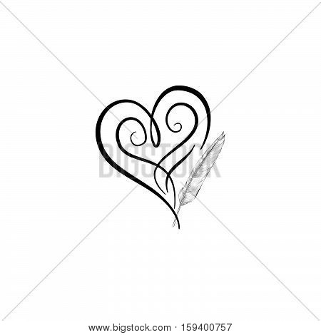 Love heart drawn by feather pen. St Valentine's day greeting card background. Heart shape design for love symbols.