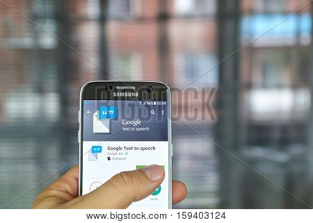 MONTREAL CANADA - JUNE 23 2016 : Google Text to Speech app on Samsung S7 screen. Google Text-to-speech powers applications to read the text on user screen aloud